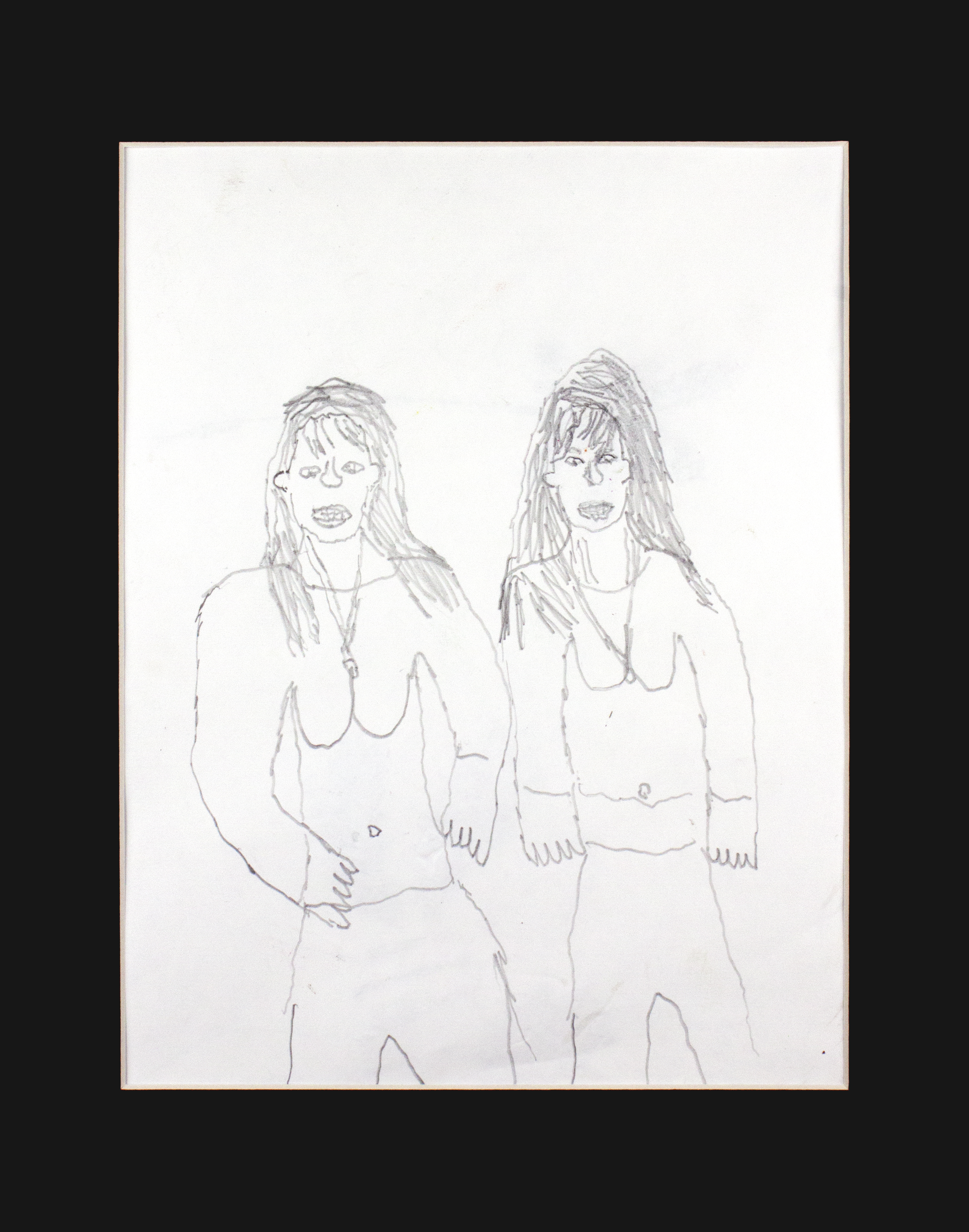 "Nice   Ladies . Graphite On Paper. 11"" x 14"" matted."
