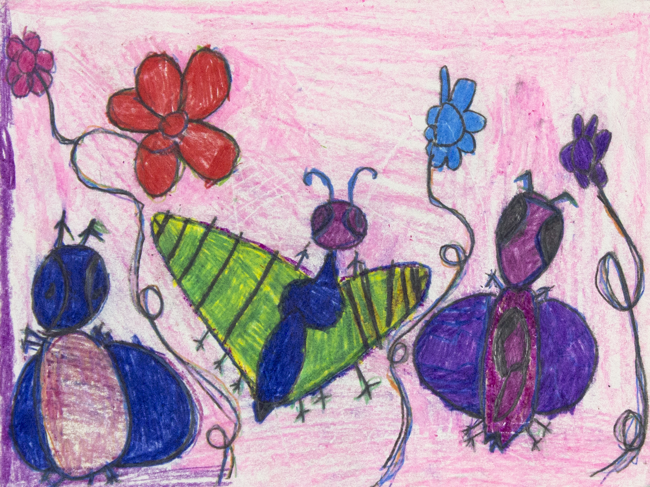 "The Butterflies . Colored pencil and pastel. 14"" x 11"" matted."