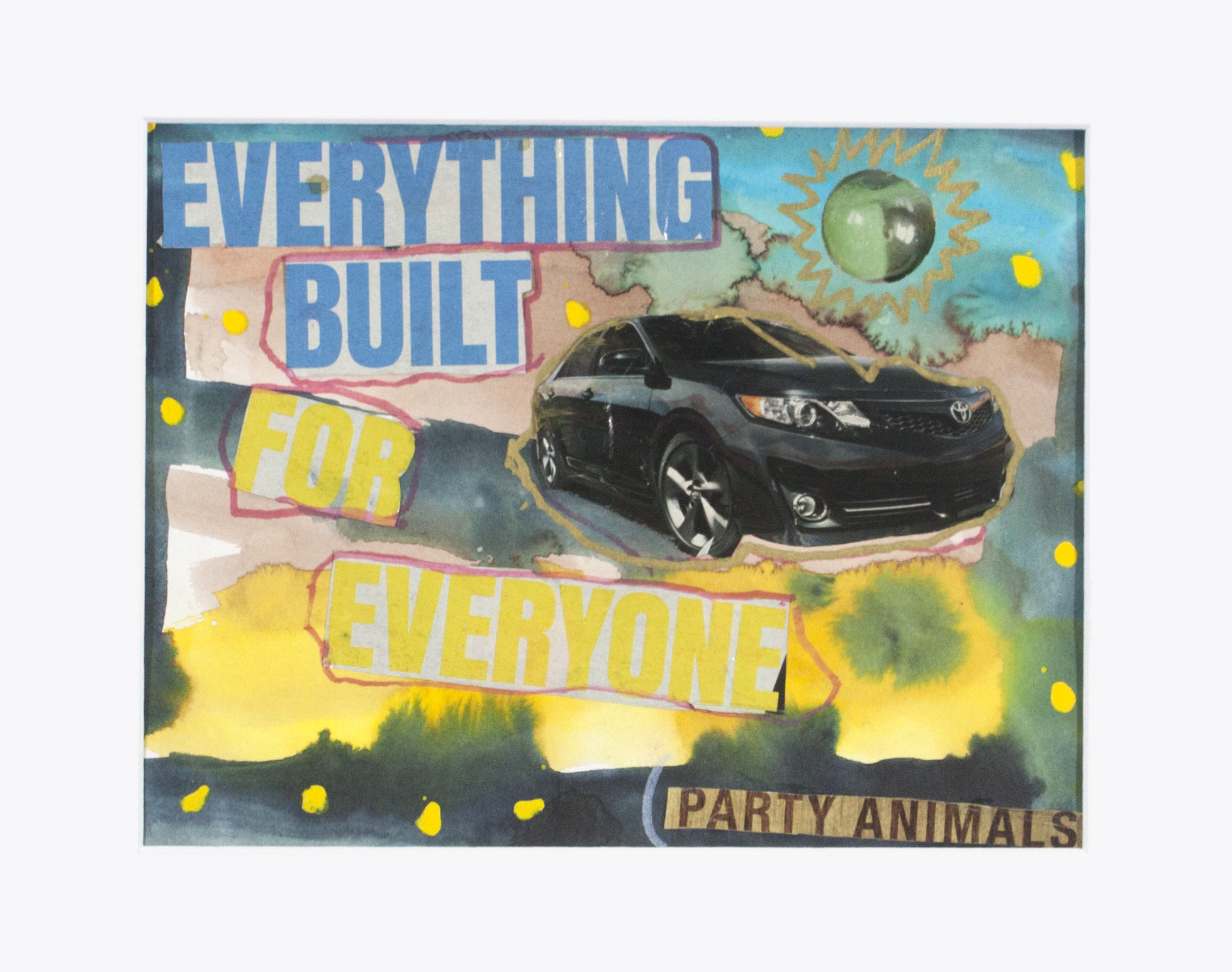 """Black Car For Everyone.  Watercolor, paint marker, and collage on marker. 14"""" x 11"""" matted."""