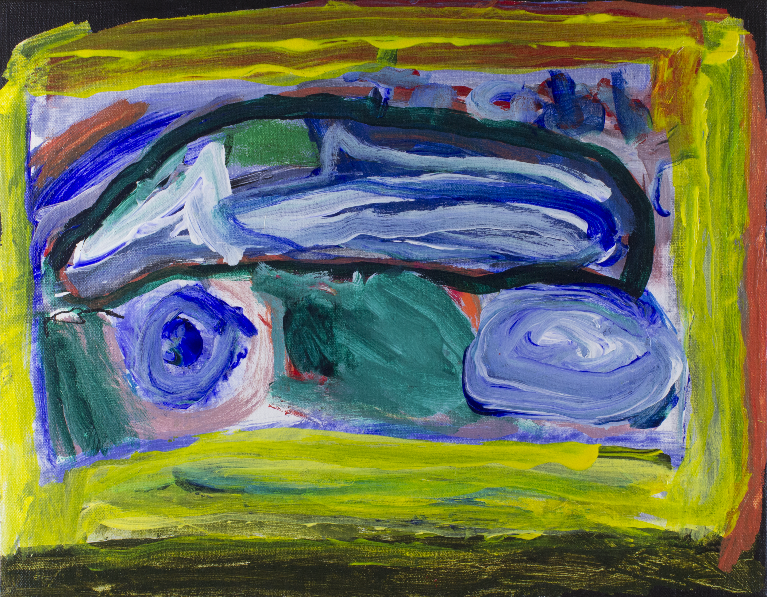 Blue Car.  Acrylic on stretched canvas.