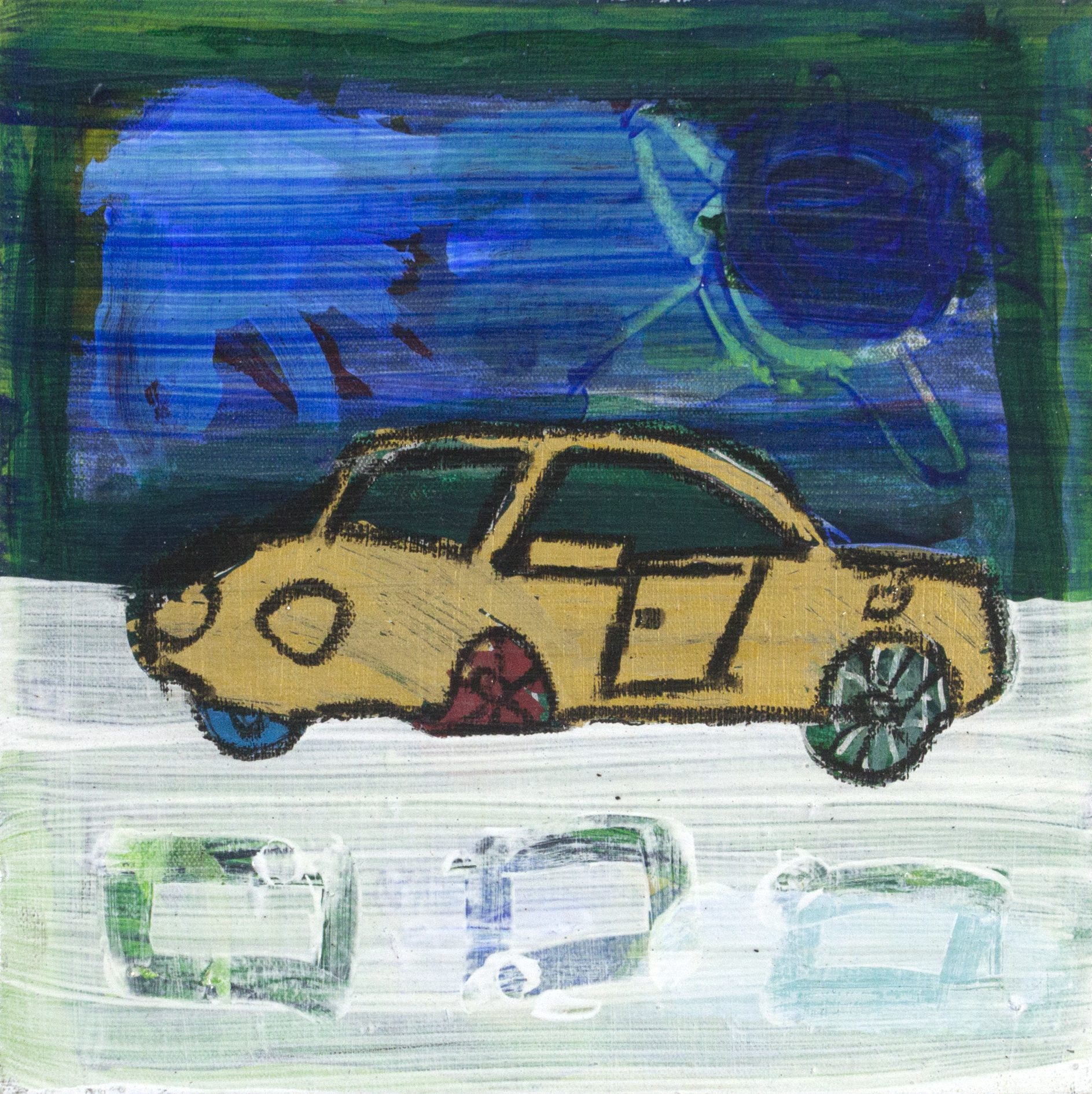 """Gold Car . Acrylic on stretched canvas. 12"""" x 12""""."""