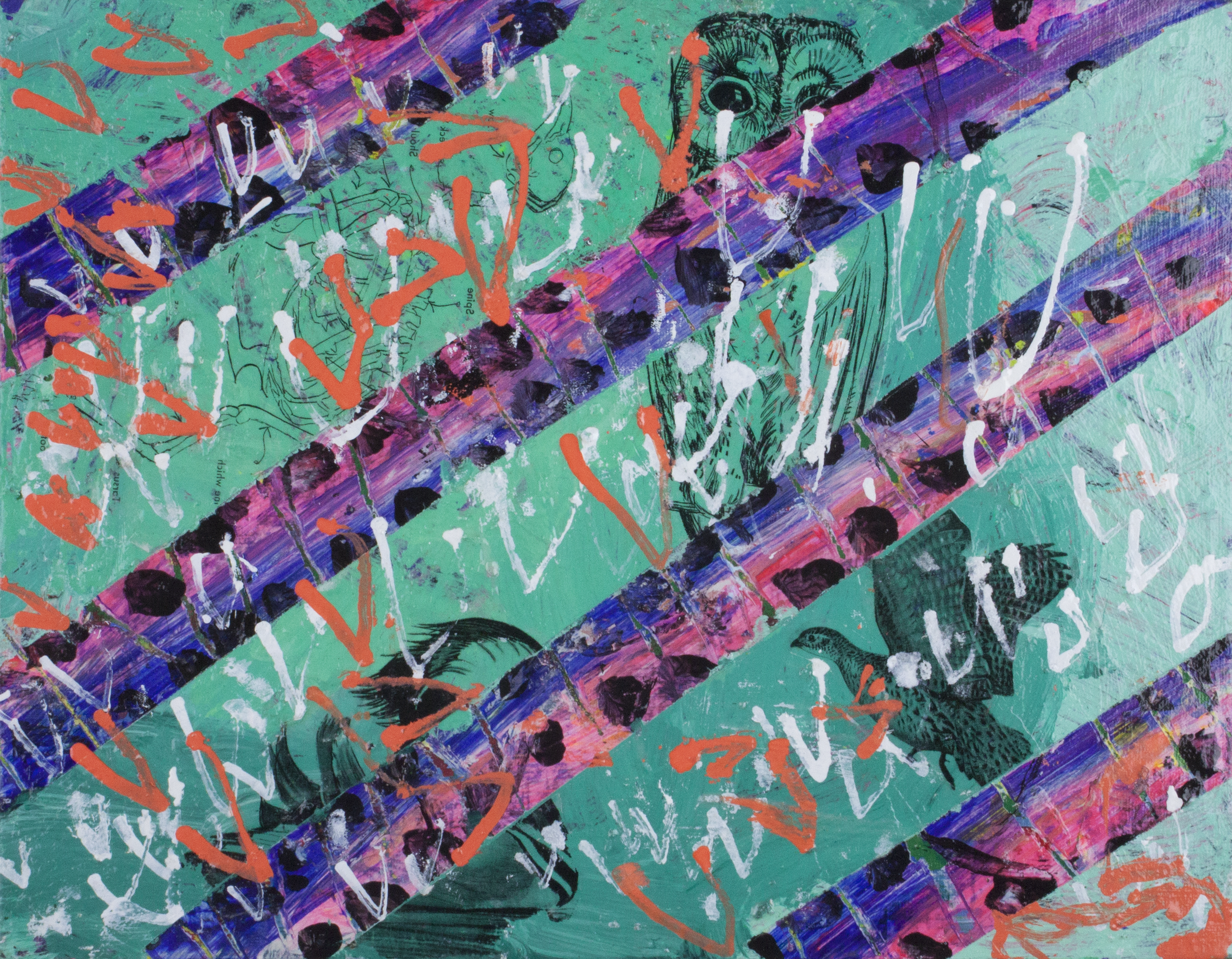"""Birds Fly In a """"V"""".  Acrylic, image transfers, and paint marker on canvas panel. 14"""" x 11""""."""