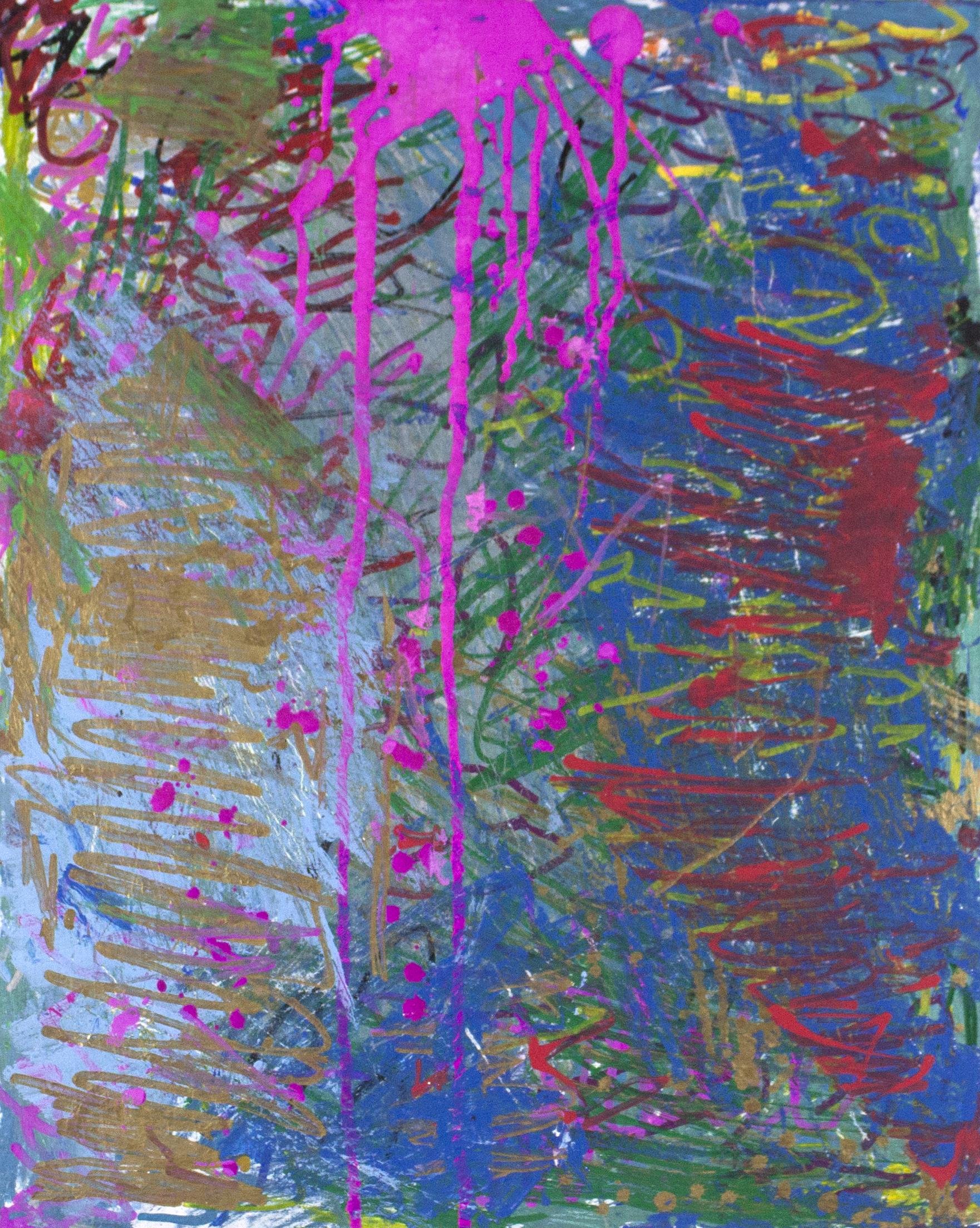 "Pretty Wild.  Paint marker on canvas panel. 16"" x 20""."