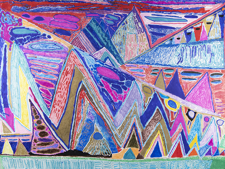"Mountain Landscape.  2019. Mixed media on paper. 24"" x 18""."