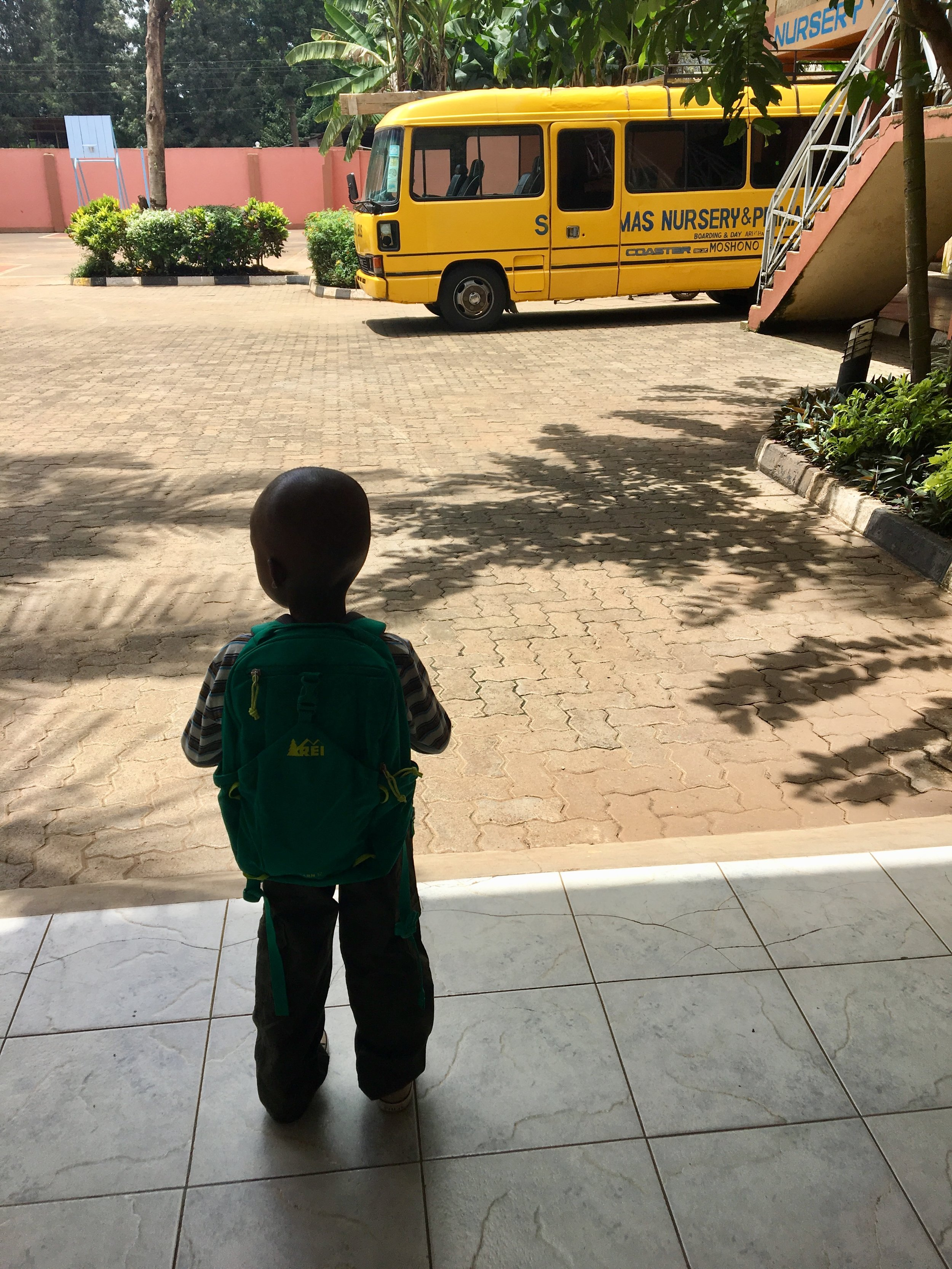 His first day of school. I always imagined his first day of school, but not like this. It wasn't supposed to be in Africa, it was supposed to be in Colorado. Dropping him off at school was one of the hardest days of my life, but we knew it was what was best for him.
