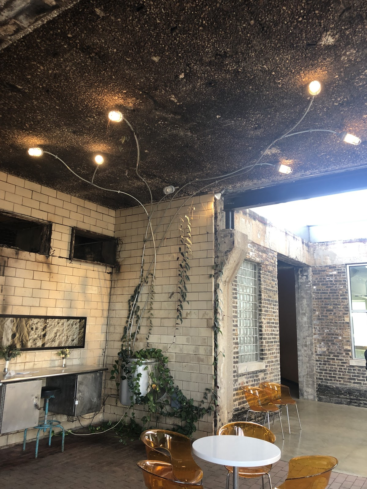 Inexpensive and beautiful design elements like this planter/light fixture made from bare conduit and old smoker chimney parts are everywhere in the building