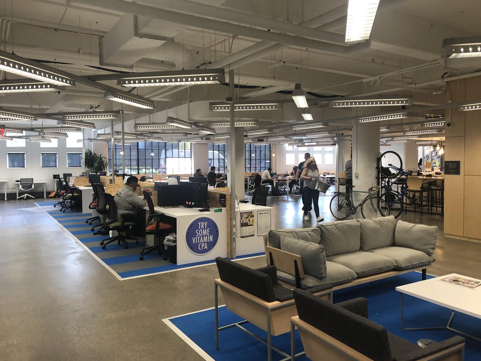 Open plan coworking at TechTown