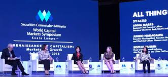 "Me (far right) on an ""All Things Being Equal"" panel at the World Capital Market Symposium, wondering if I'm being a little  too  honest in a room full of money market folk"