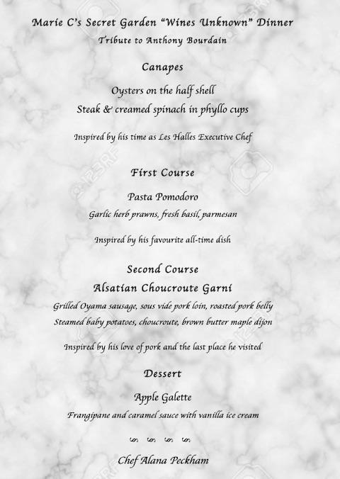 Chef Alana's Tribute Menu
