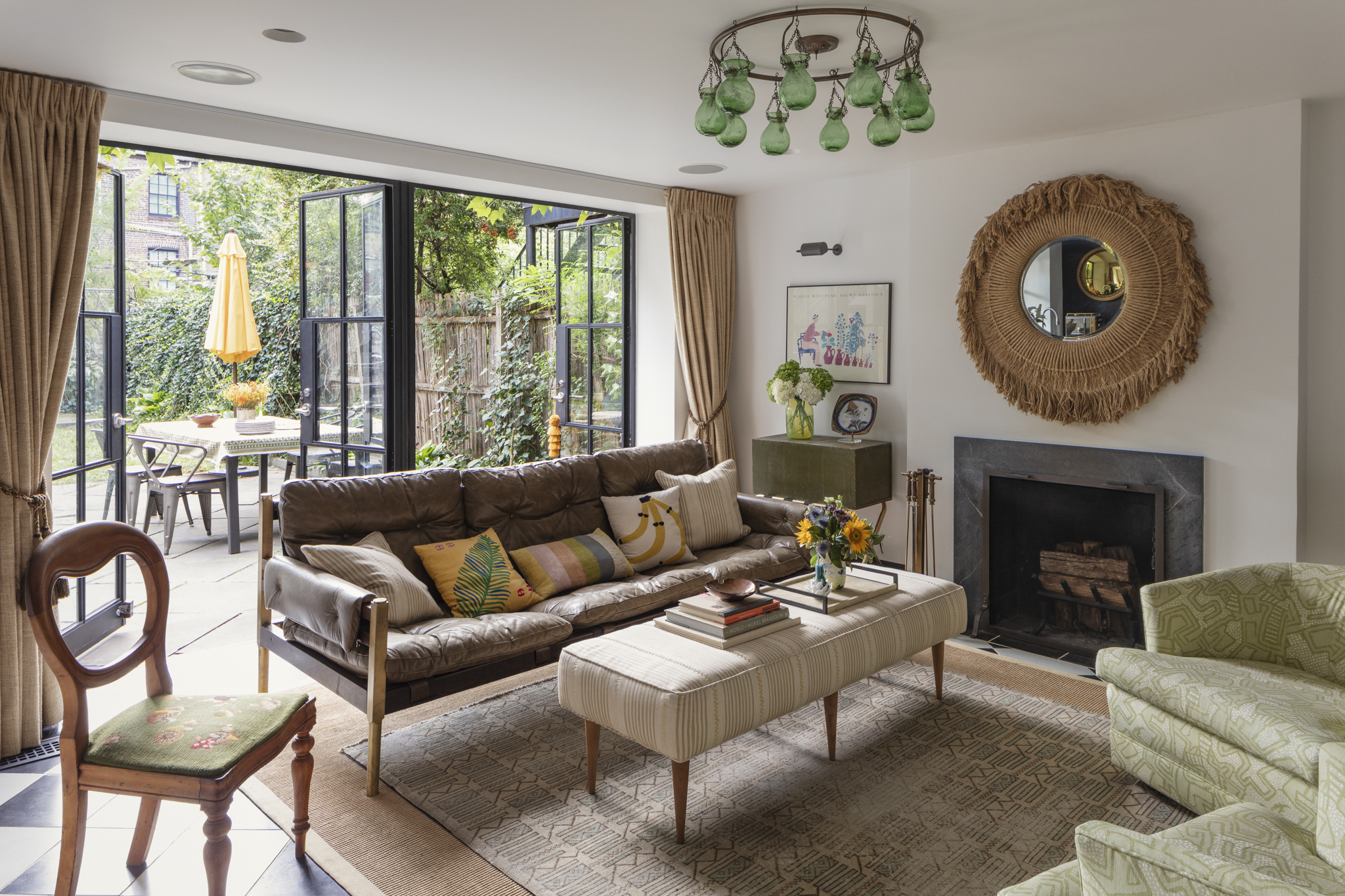 Lauren Stern Design Garden Living Room Brooklyn Brownstone
