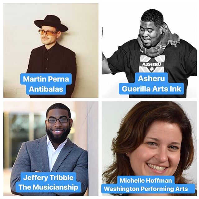 Super interesting brainstorming and idea sharing about unlikely local partners and government entities. Shoutout to our great panelists @Asheru of @GuerillaArts; @JeffTribbleJr with @TheMusicianShip; and Michelle from @WashPerformArts. #collaboration #202creates #mpfs2018
