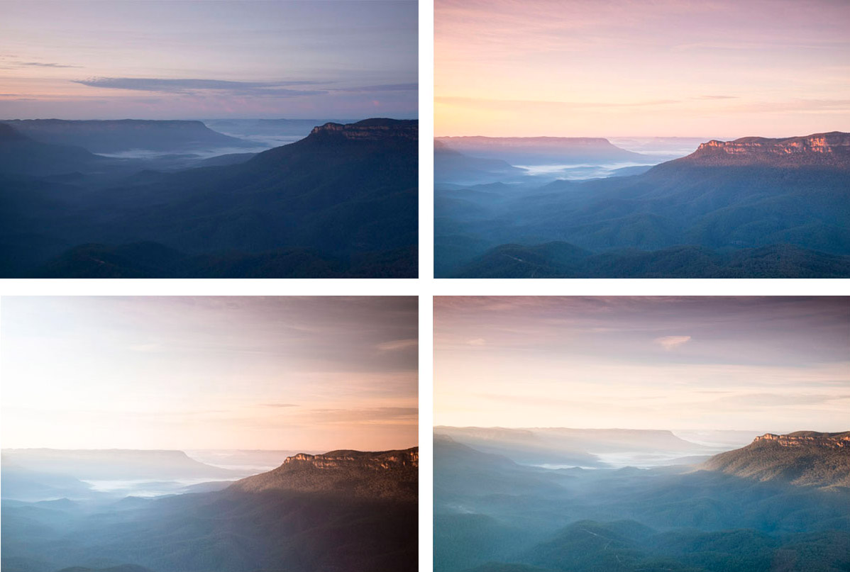 Landscape of the changing light of a sunrise in the Blue Mountains from Sublime Point in Leura