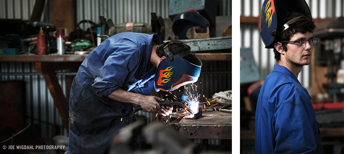 Portrait of young welder in workshop