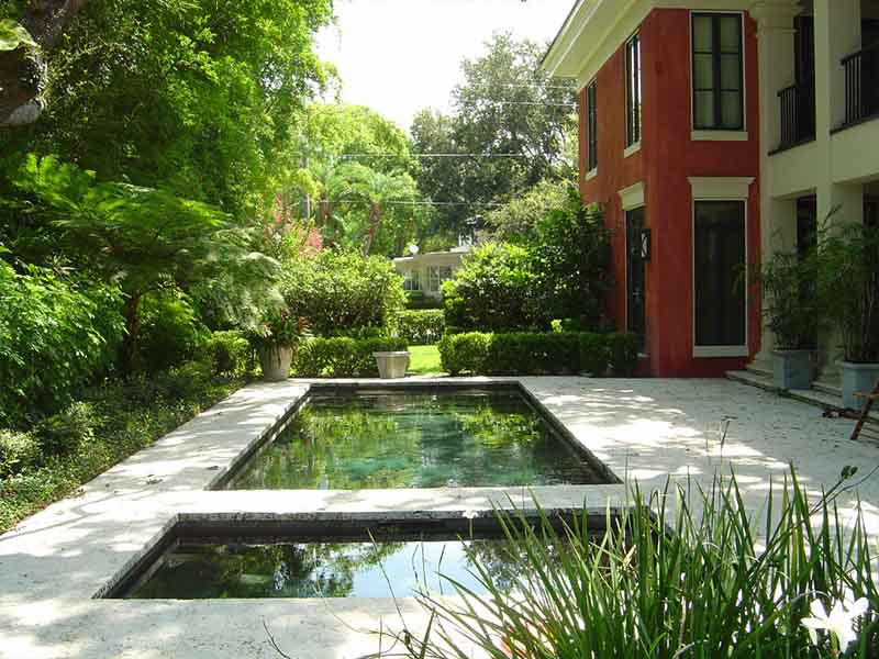 Palmetto Road - reflecting pools and garden