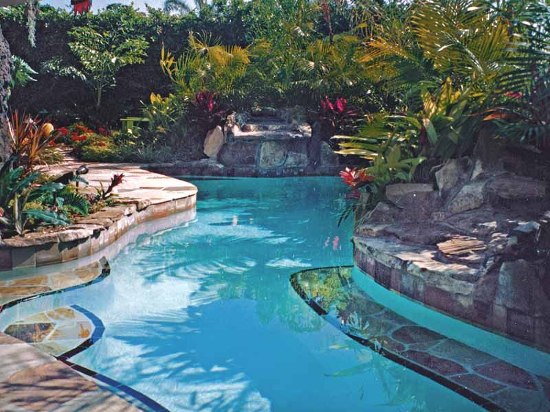 Fort Lauderdale - tropical oasis pool with tropical flowering plants and varied palms