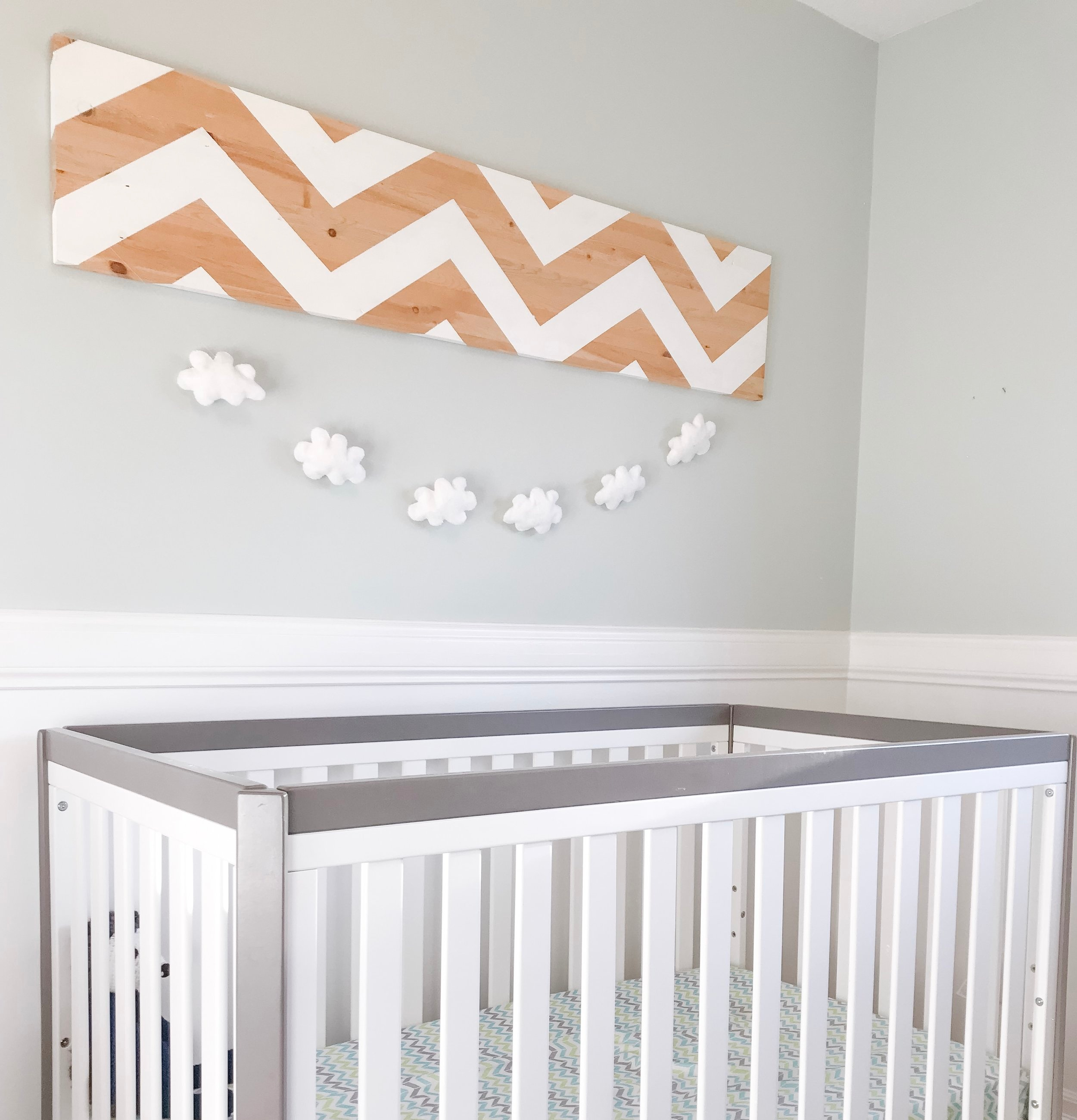 chevron painted wall decor And felt cloud chain