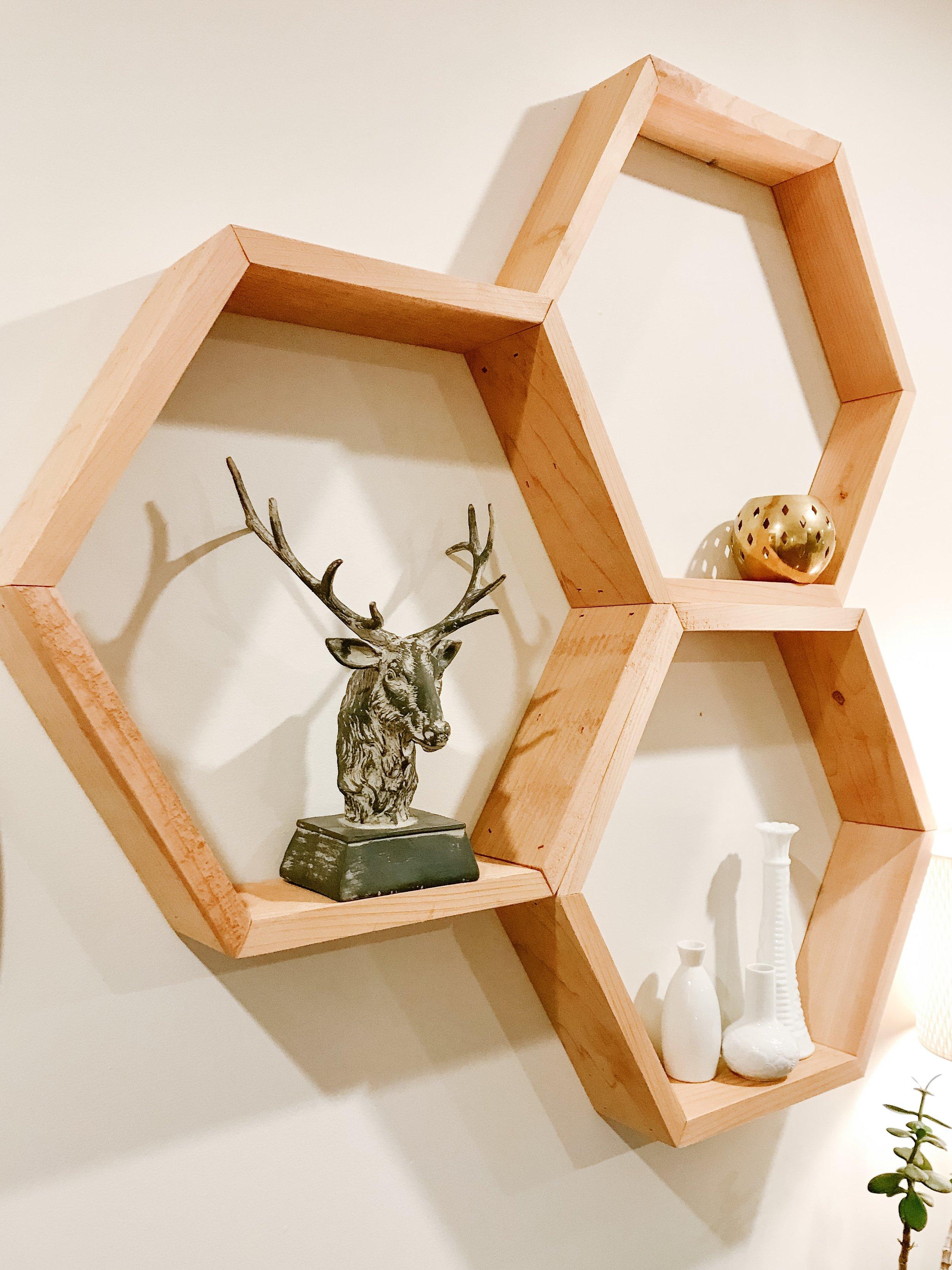 cedar hexagon shelf