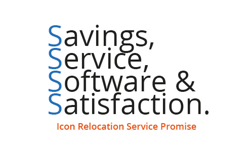 Text saying Savings, Service, Software and Satisfaction Icon Relocation Service Promise