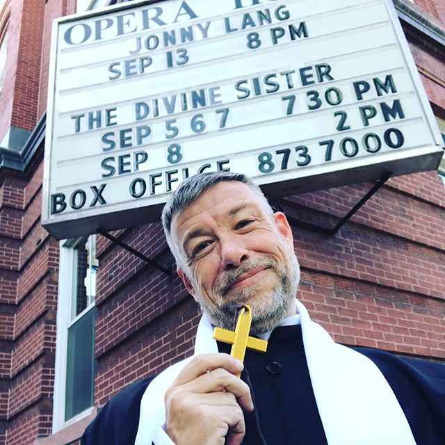 Our divine Doorman (or is that DoorFather?) awaits your 6:30pm arrival for the opening night reception for The Divine Sister, show starts at 7:30pm, get your tickets at the door! #watervillemaine #thedivinesister #communitytheatre #doormanlife #officialgreeter