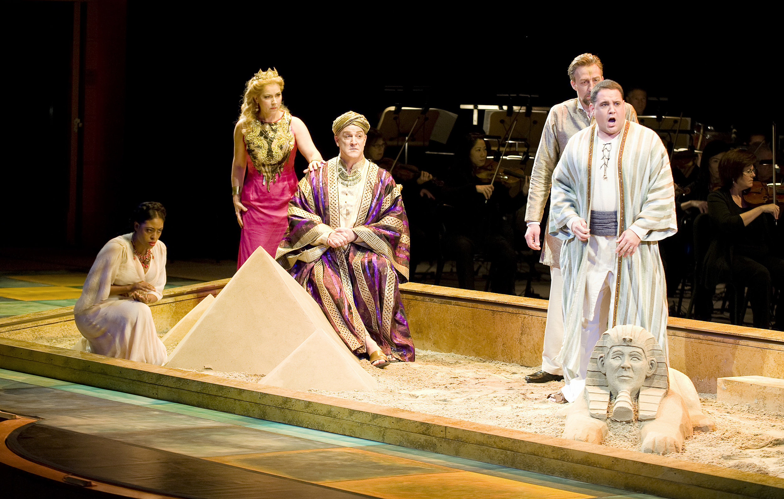 Standing directly behind the Sphinx, singing the role of the Messenger in Pacific Symphony's production of  Aida , February 2017. Carl St. Clair conducting.  Photo courtesy of Pacific Symphony