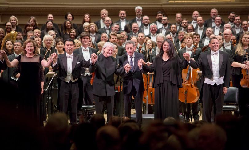 from left to right : Elissa Johnston, soprano; Christopheren Nomura, baritone; Maestro Carl St. Clair, Pacific Symphony; Philip Glass, composer; I-Chin Feinblatt, mezzo-soprano; Nicholas Preston, tenor