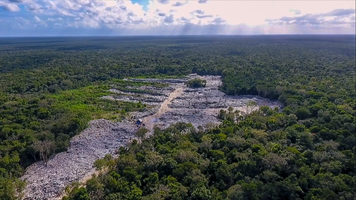 One of Tulum's two landfills. Trash is dumped right into the jungle.