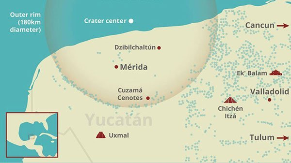 Graphic of the location of the Chicxulub crater.