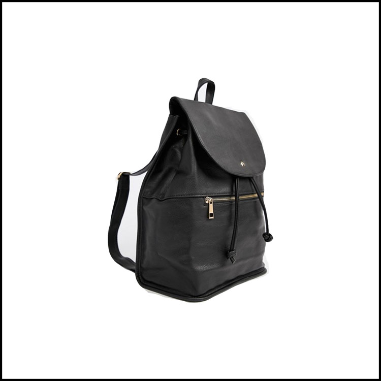 LEATHER BLACK BACKPACK -