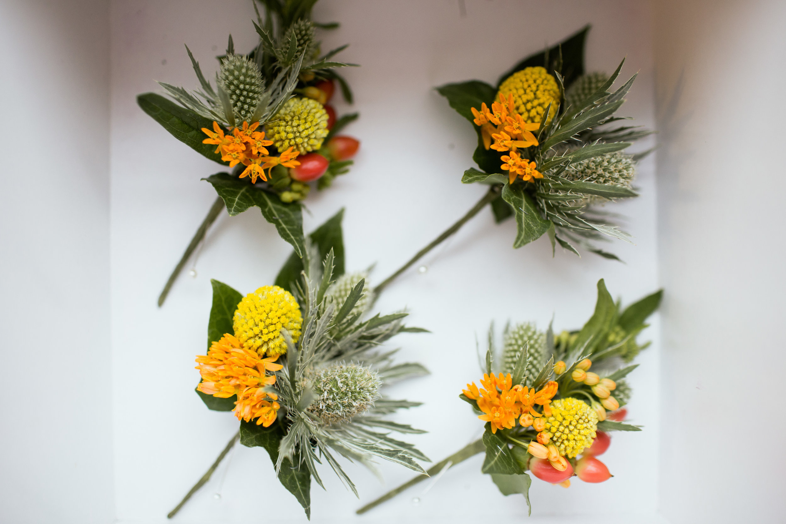 Boutonnieres made with locally grown flowers in Fort Collins