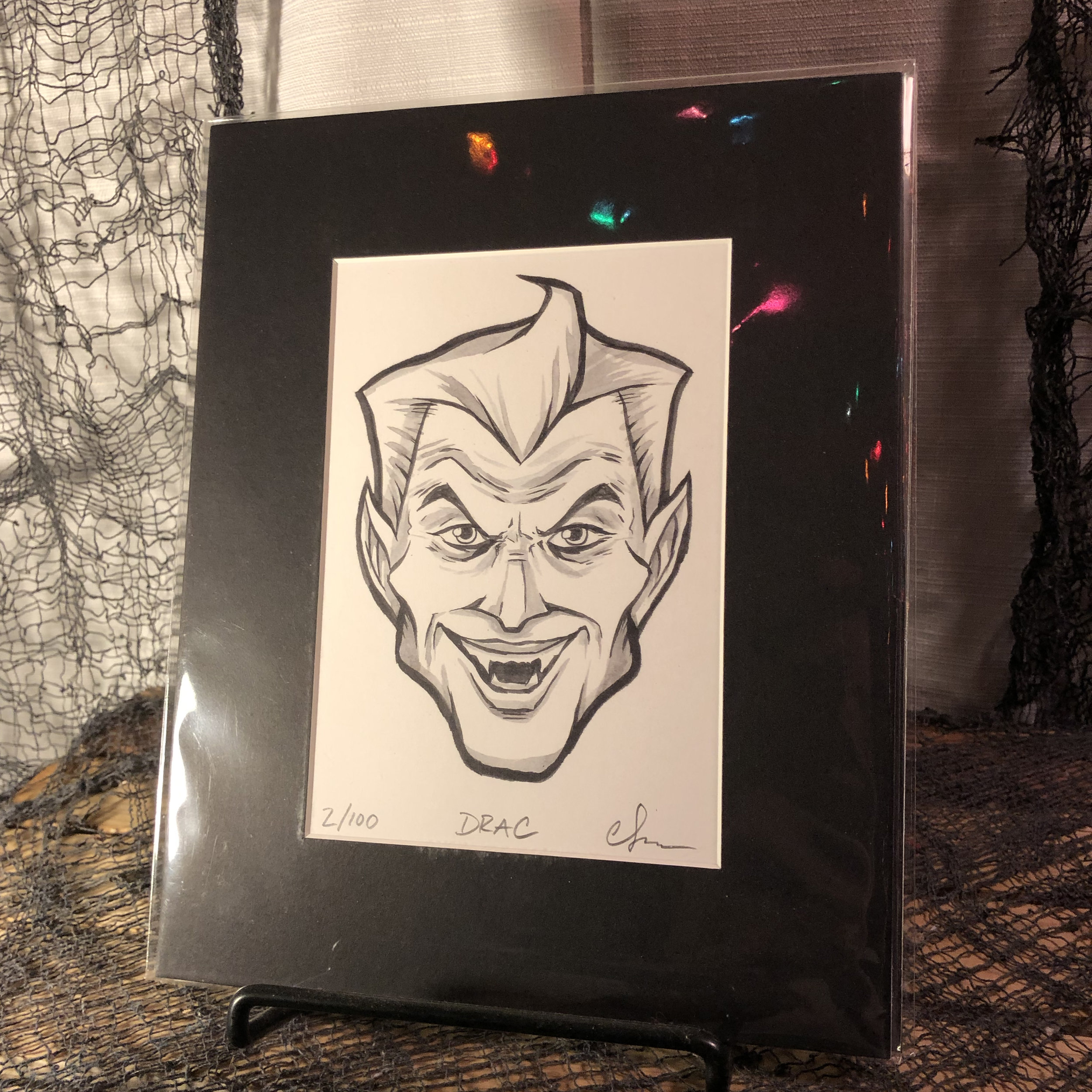 Drac Limited Edition Print    $15.00   Original, modern cartoon spin on the classic Monster from Universal Studios' Dracula.