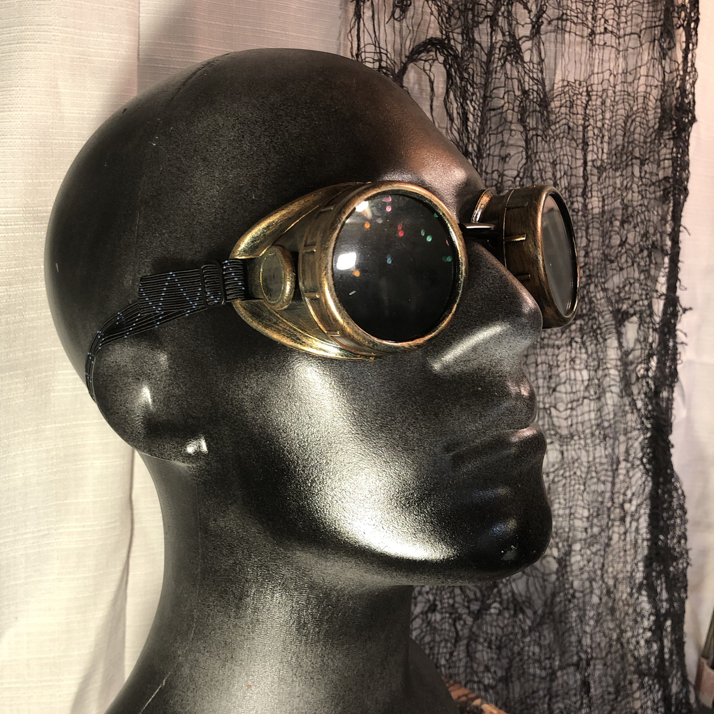"Steampunk ""Victorious"" Goggles    $18.50   These steampunk goggles are perfect to finish off your cosplay.  The green welding lenses can be removed and clear glass lenses(included) can be used instead.  Plastic frames and two sets of lenses included"