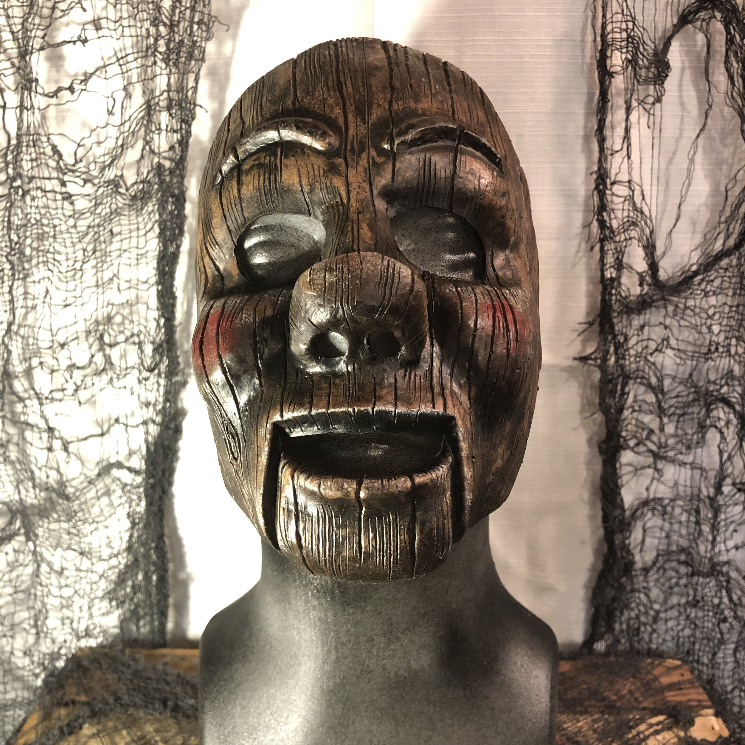 Dudley  $80.00  Become this wise cracking, wooden doll.  Dudley's mask fits similar to a face prosthetic, not full coverage.  100% Natural Latex Mask