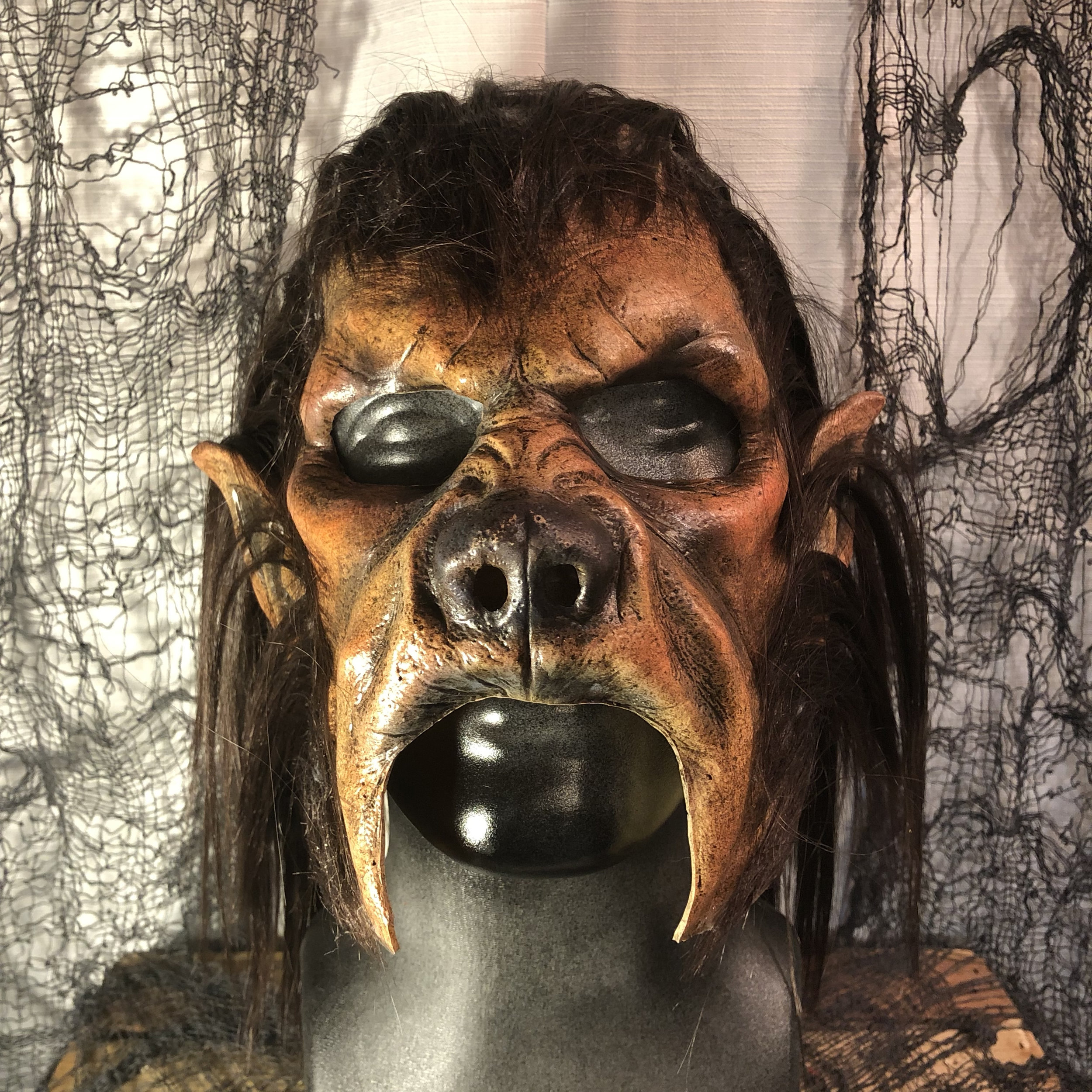 Wolfman (chinless variation)  $125.00  Howl at the moon!  The chinless version of the Wolfman is perfect for men with beards.  100% Natural Latex Mask and hair
