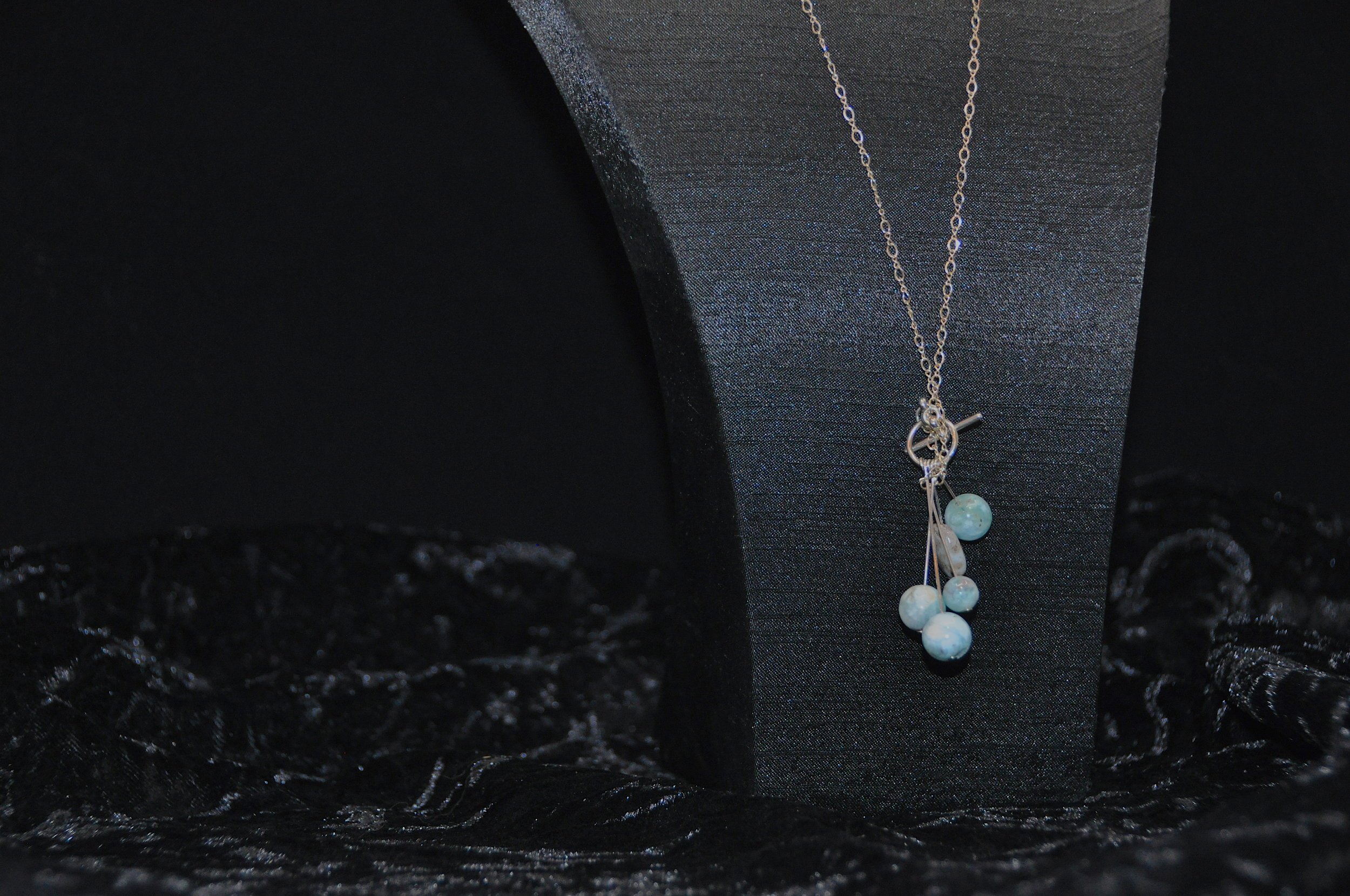 33 Larimar Drop on Silver Necklace and Earrings 3.JPG