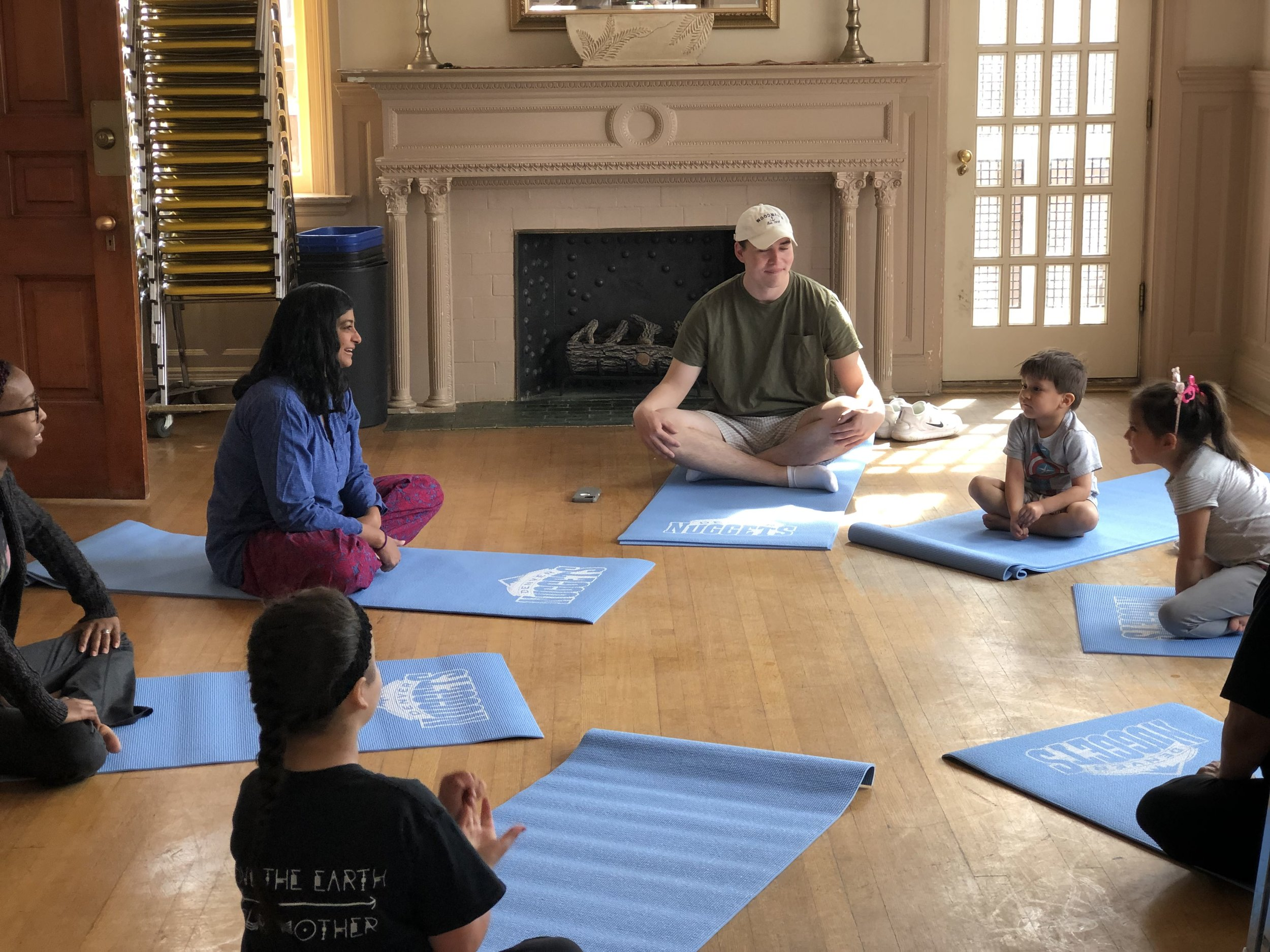 Our amazing youth practicing mindfulness with Satya Yoga Cooperative!