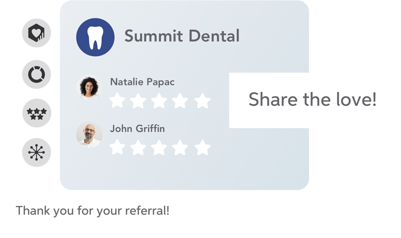 Review and referral generation - Use the insights you've gathered.Automatically invite patients that love you to spread the word and refer their friends and family to your practice.