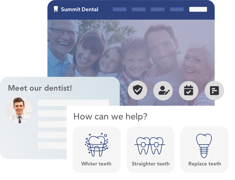 Optimized practice website - Tell us your story!Our experts will walk you through the process and develop a practice website that engages and converts potential patients.