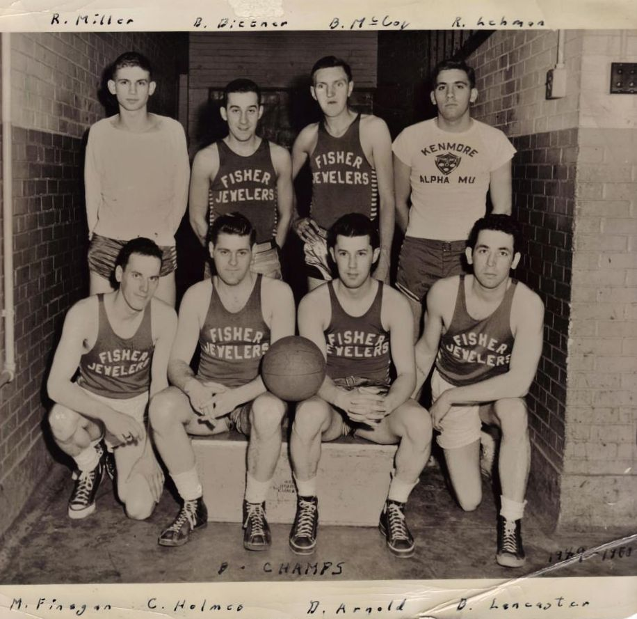 SPORTS - 1946-48 BASKETBALL CHAMPS - Fisher Jeweler sponsor.jpg