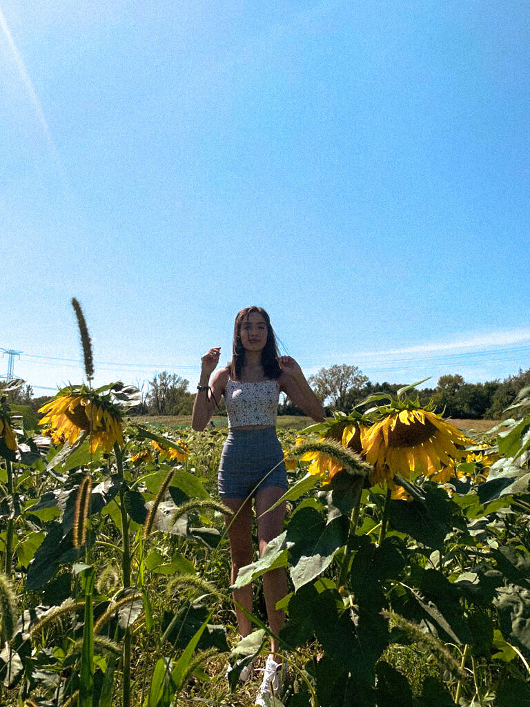 chicago blogger in a sunflower field