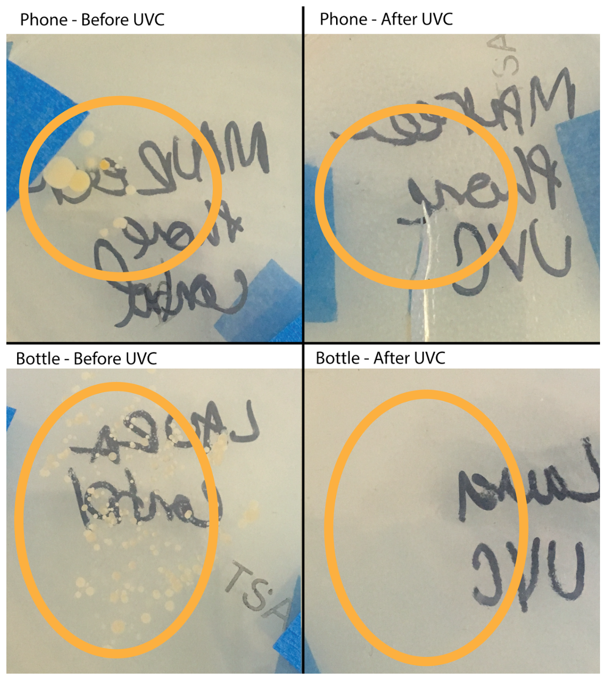 Bacterial outcomes after being treated with UV-C light
