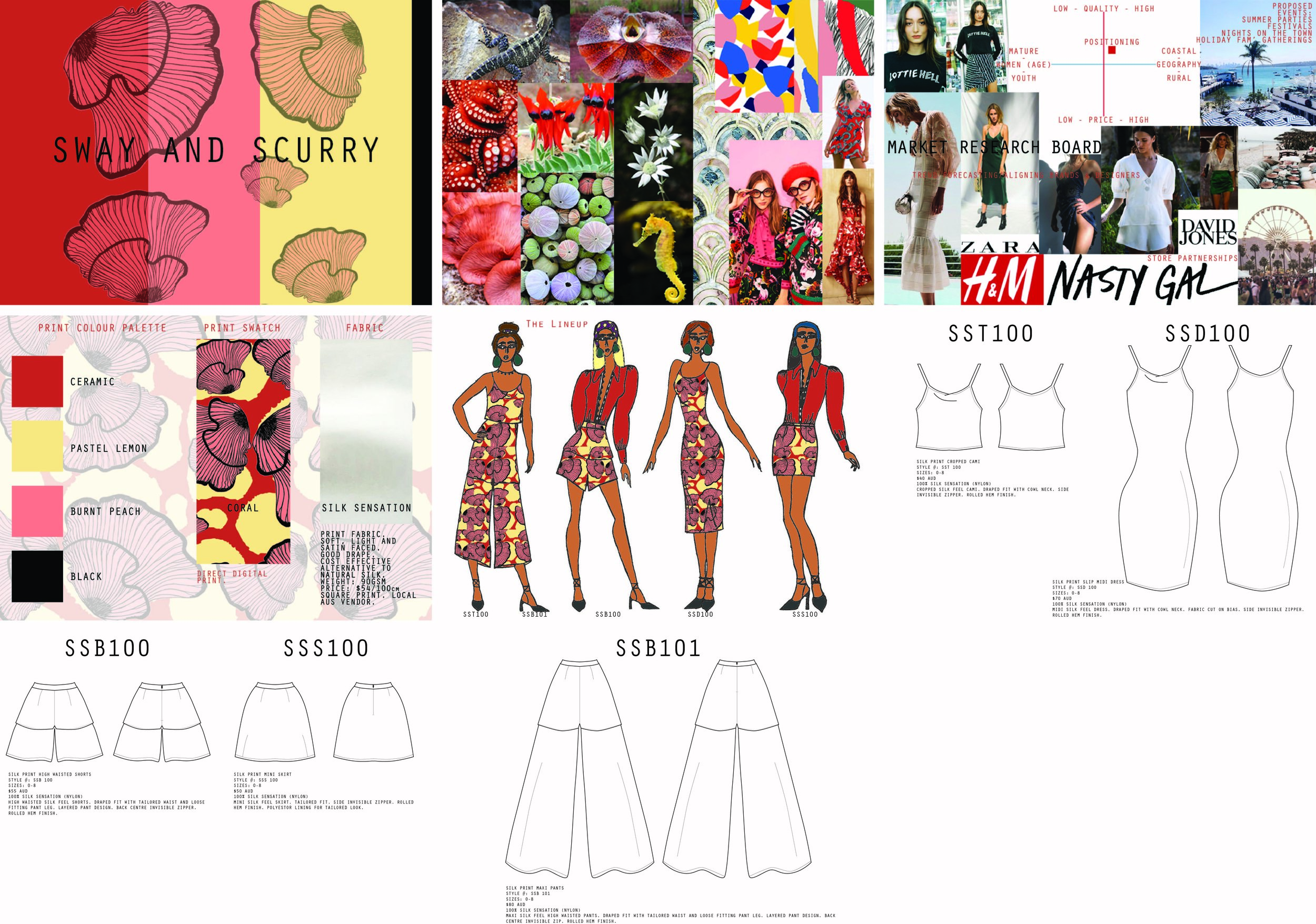 Proposed Spring Summer Range 'Sway and Scurry' exhibiting digitally printed fabric story 'coral'.
