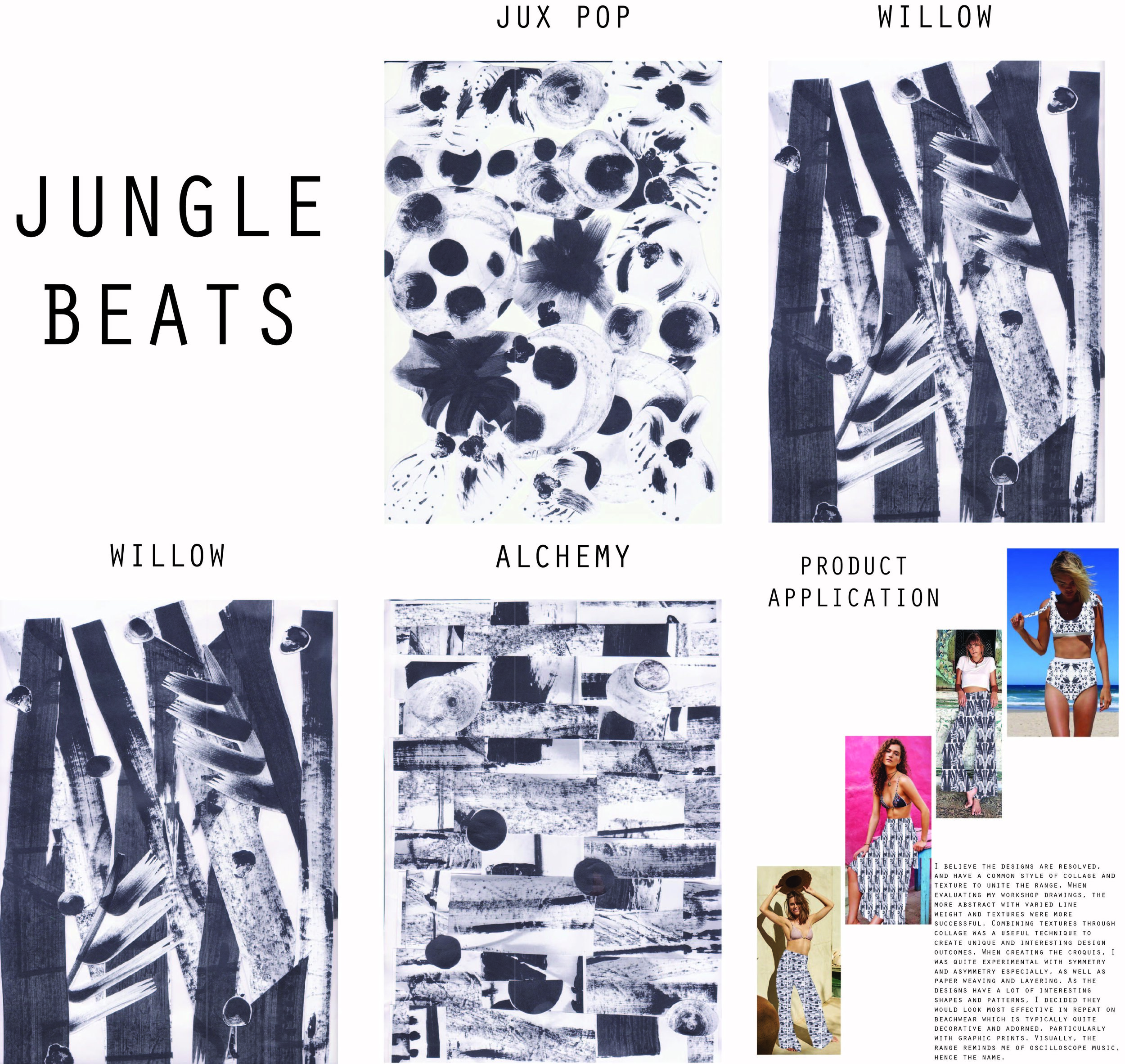 'Jungle Beats' refined my hand rendering skills, and how mark making experimentation could lead to texture, composition and interesting weight of shades. These designs were then digitally transferred to form a textile design range.