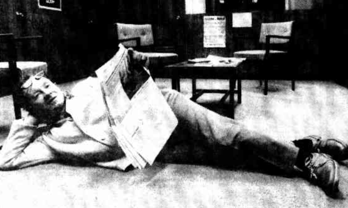Ray O'Shannassy lies in the foyer of the electoral office of the Member for Fraser, Mr Fry, on the 29th of July, 1983. He said he intended to sleep there overnight as a protest against the failure of the Government to provide adequate low-cost accommodation for the unemployed. He also was protesting about the failure to make rooms available at Havelock House for homeless people.