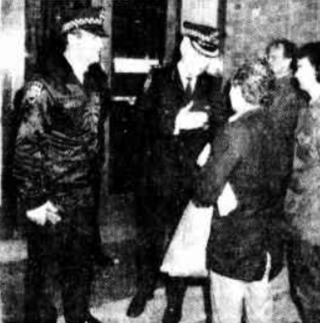 Mr Ray O'Shannassy is spoken to by Inspector Michael Craft outside Havclock House on the 18th of August, 1983. Pictured on the right is current General Secretary of the ACP, Bob Briton.