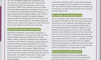 Editorial content for a printed business listings magazine