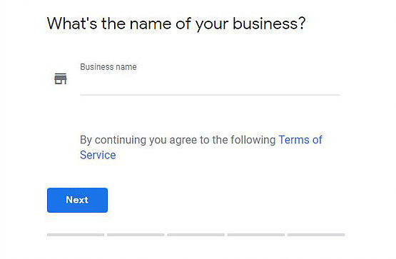 Google My Business first registration page