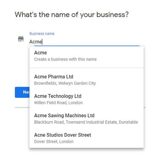 Google My Business adding your business name