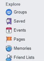 Facebook Explore menu