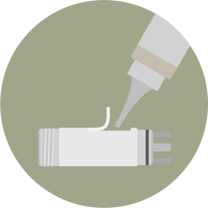 Refill cartridge with a e-liquid bottle with thin nozzle. Carefully seal the cartridge with the rubber stop and wipe off the excess e-liquid.