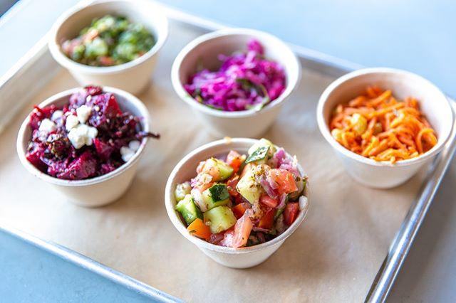 Our medley of sides is ready for the spotlight. It's time to taste the rainbow! 🌈   #yallamedi #eattheworld #healthyeats #eatinggood#freshisbest #bayareaeats #LongBeacheats #laeats #fitfood #plantbased #tastetherainbow #housemade